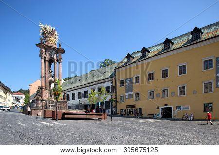 Banska Stiavnica, Slovakia - August 06, 2015: Holy Trinity Plague Column In Banska Stiavnica - Unesc