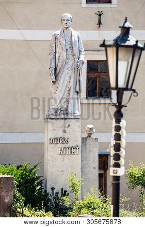 Banska Stiavnica, Slovakia - August 06, 2015: Sculture Of Andrej Kmet In Banska Stiavnica, Slovakia.