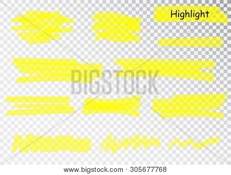 Yellow Highlighter Marker Strokes. Vector Brush Pen Underline Lines. Yellow Watercolor Hand Drawn Hi