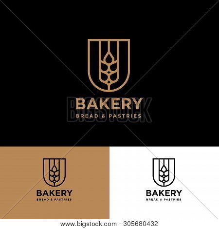Bakery Logo. Spikelet In A Heraldic Shield On Different Background. Agricultural Logo. Identity.
