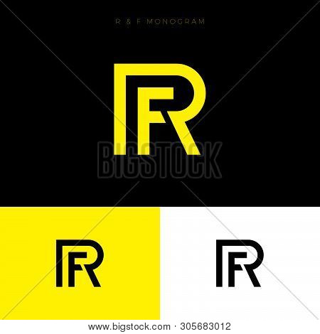 R And F Monogram. R,f Logo. Linear Monogram On  A Different Backgrounds. Abstract Emblem.