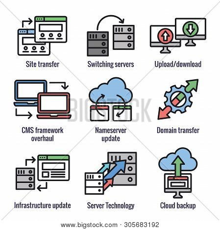 Website Data Transfer Icon Set W Laptops, Arrows, And Imagery Of Transfer
