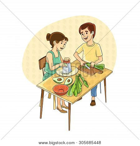 Vector Illustration. The Couple At The Table Makes A Salad With Avocado