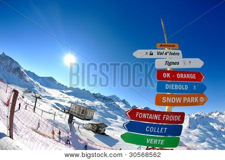 sign board at High mountains under fresh snow in the winter  season