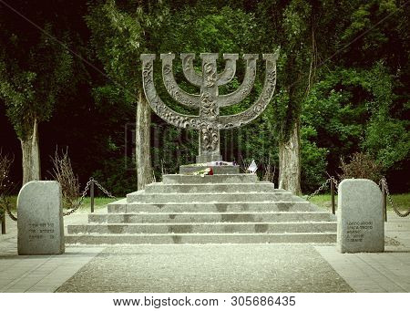 Kiev Ukraine - May 25, 2019. Menorahs Monument At Babi Yar Memorial Complex, Place Of Massacres Carr