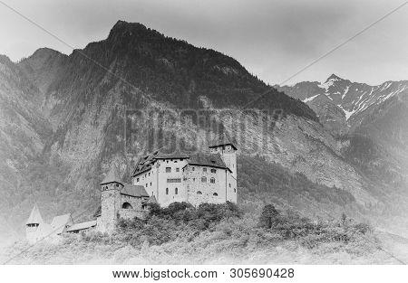 Balzers, Fl / Liechtenstein - 9 June 2019: Horizontal View Of The Historic Gutenberg Castle In The V