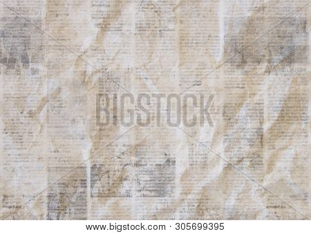 Vintage Grunge Newspaper Paper Texture Background. Blurred Old Crumpled Newspapers Backdrop. A Blur