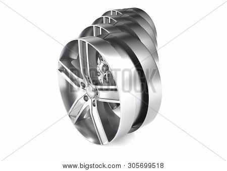 Aluminum wheel image 3D render high quality rendering. White picture figured alloy rim for car, tracks. poster
