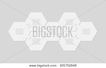 Seven Pieces Puzzle Jigsaw Hexagonal Info Graphic