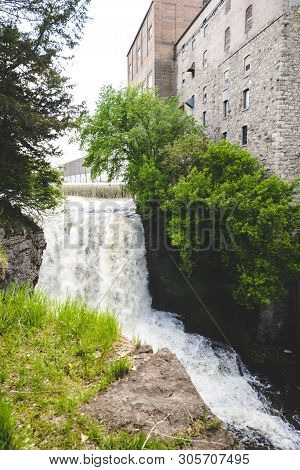 Vermillion Falls, An Urban Waterfall Next To An Old Factory Located In Hastings, Minnesota