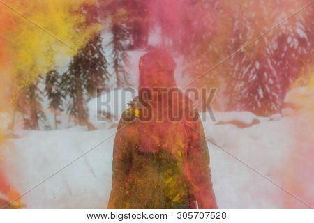 Sheregesh, Kemerovo Region, Russia - April 06, 2019: Young Happy Woman Painted With Holi Colors