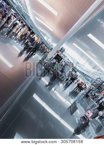 Barcelona, Spain - June 08, 2019. El Prat Josep Tarradellas Airport. Public Area With Passengers, Wa
