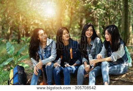 Four Women Sit And Relax On The Timber In The Forest, Inviting Each Other To See Nature.camping In H