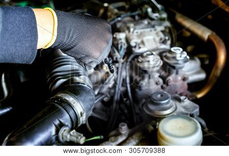 Auto Mechanic Preparing For The Work. Mechanic With Stainless Steel Wrench In Hand.close Up Of Hands