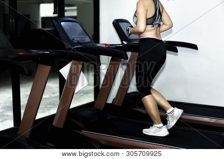 Women Exercising, Treadmill In Fitness.sport Equipment. Woman Exercise Workout In Gym Fitness.concep