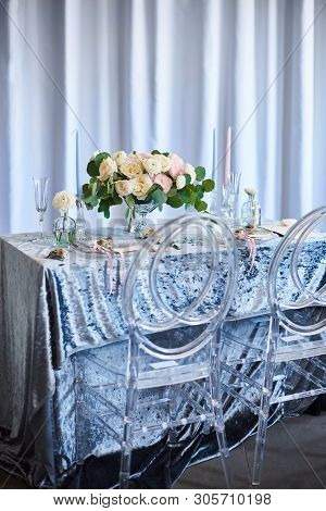 Vintage Wedding Decor. Beautiful Event Venue. Creative Decoration. Blue, White Nacre Color. Table Wi