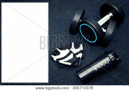 Sport Equipment On Black Background.dumbbell, Glove And Glass Food Supplement On Background.