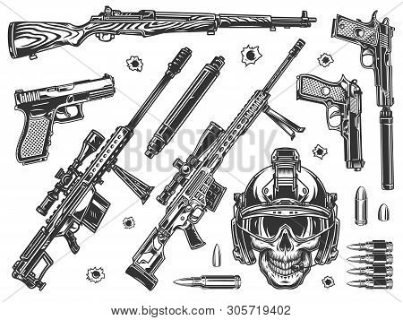 Vintage Military Elements Monochrome Set With Soldier Skull In Modern Helmet Sniper Rifles Silencers
