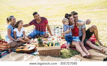 Happy Multiracial Families Taking Selfie At Pic Nic Garden Party - Multicultural Joy And Love Concep