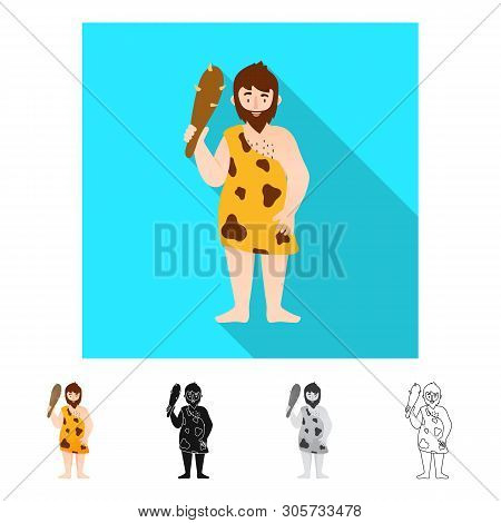 Vector Design Of Neanderthal And Man Icon. Set Of Neanderthal And Prehistoric Stock Symbol For Web.