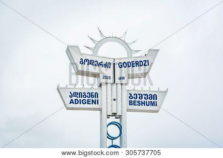 Goderdzi, Georgia - May 8, 2017. Signboard With Information About Goderdzi Pass