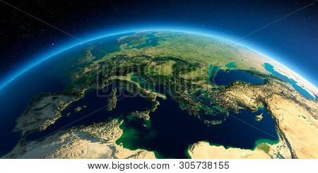 Highly Detailed Planet Earth In The Morning. Exaggerated Precise Relief Lit Morning Sun. Part Of Eur