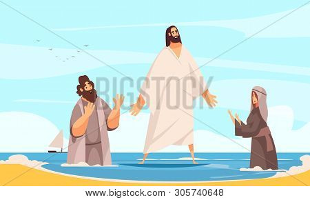 Bible Narratives Jesus Water Composition With Doodle Character Of Christ Walking On Water With Prayi
