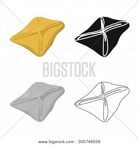 Isolated Object Of Manti  And Jiaozi Sign. Set Of Manti  And Dough Stock Vector Illustration.