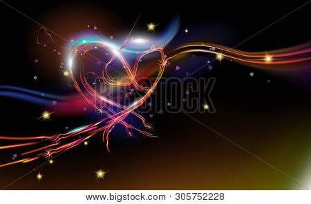 Glowing Sparkling, Radiant Fantasy Abstract Background Red Heart. Holiday Design, Night Art Illumina