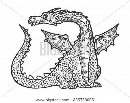 Dragon Fabulous Mythical Cartoon Animal Sketch Engraving Vector Illustration. Scratch Board Style Im