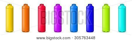 Creative Illustration Of Gas Cylinder, Tank, Balloon, Container Of Propane, Butane, Acetylene, Carbo