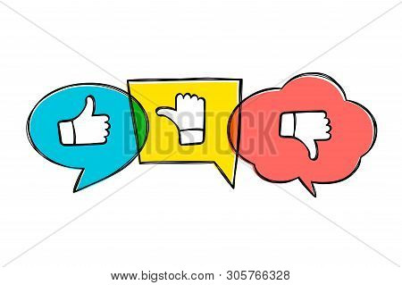 Hand Drawn Green, Red And Yellow Speech Bubbles With Thumbs Up And Down. Like, Dislike And Undecided