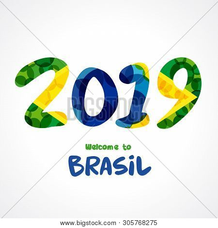 2019 Numbers, Welcome To Brasil. Background Pattern With Flat Watercolor In Brazilian Flag Colors. W