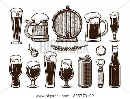 Vintage Set Of Beer Objects. Old Wooden Mug, Barrel, Glasses, Hop, Bottle, Can, Opener, Cap. Engravi