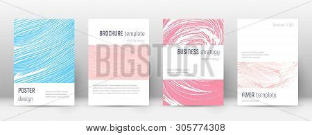 Cover Page Design Template. Minimalistic Brochure Layout. Classic Trendy Abstract Cover Page. Pink A
