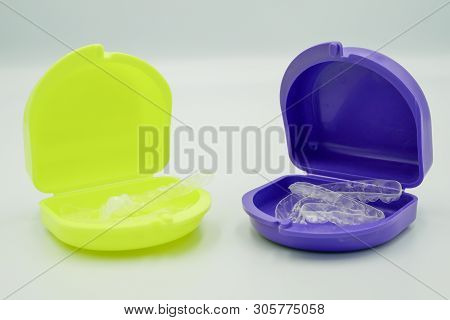 Clear Plastic Retainer Teeth In The Boxset, It's A New Technology Equipment For Orthodontist Give Th