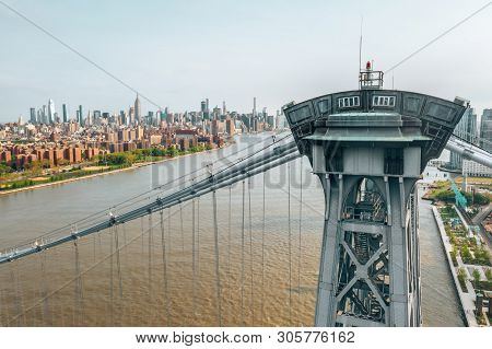 May 10, 2019. New York, Usa. Aerial Close Up View Of The George Washington Bridge At Sunrise In Fort