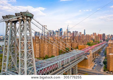 April 10, 2019. New York, Usa. Aerial Close Up View Of The George Washington Bridge At Sunrise In Fo