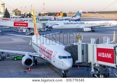 Antalya / Turkey - June 6, 2019: Boing 737 From Pegasus Airlines Stands On Gate 113 At Airport Antal