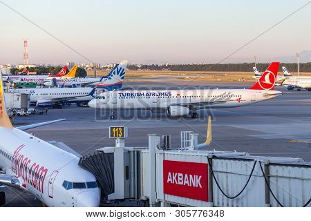 Antalya / Turkey - June 6, 2019: Airbus A321 From Turkish Airlines Stands On Airfield At Airport Ant