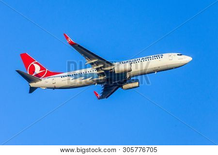 Antalya / Turkey - June 6, 2019: Boing 737-800 From Turkish Airlines Flies Over Airport Antalya, Tur