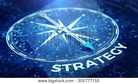 Strategy tecnology concept - Compass needle pointing strategy word. 3d rendering