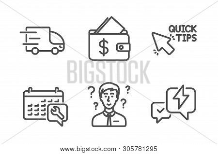 Quick Tips, Support Consultant And Spanner Icons Simple Set. Wallet, Truck Delivery And Lightning Bo