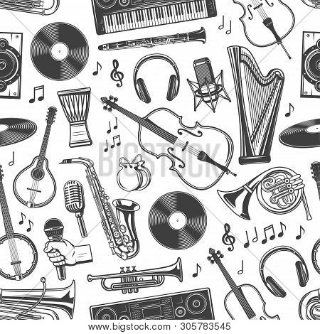Music Instruments Seamless Pattern Of Guitar, Piano And Violin With Music Notes. Vector Folk Maracas