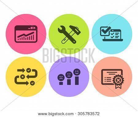 Online Survey, Survey Progress And Website Statistics Icons Simple Set. Customer Satisfaction, Spann