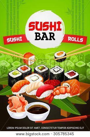 Sushi Bar Menu Cover, Japanese Food And Asian Seafood Restaurant. Vector Japanese Sushi And Maki Rol