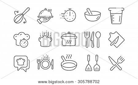 Cooking Line Icons. Boiling Time, Frying Pan And Kitchen Utensils. Fork, Spoon And Knife Line Icons.