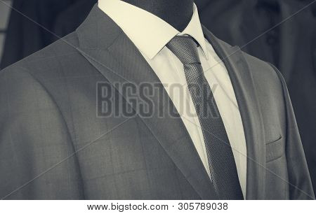 Mans Suit: Jacket, Shirt, Tie In A Department Store. Retro Style. Men Fashion Industry. Nice Clothes