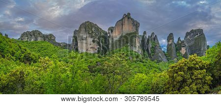 Panoramic View Of The Impressive Rock Formations And Landscape At Meteora, Trikala Region, Greece