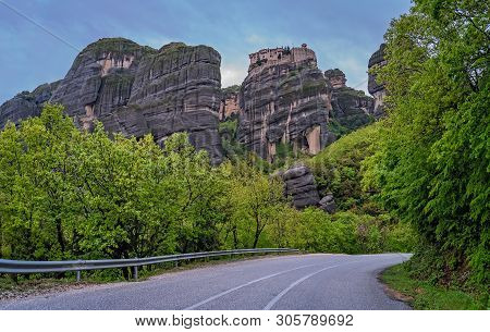 Twisting And Turning Uphill Mountain Road Leading To The Stunningly Located Meteora Monasteries, Met